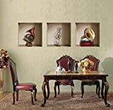 "Wall26 - Wall Mural / Modern Home Decor Creative 3D Visual Effect Wall Sticker Set of 3 Pieces | Vintage Style Musical Instrument Saxophone and Gramophone / Phonograph - 12"" x 12"" x 3 Pieces"