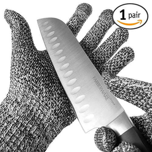 TYH Supplies Cut Resistant Safety Gloves High Performance Level 5 Protection EN388 Food Grade, Cutting & slicing Hand protection Kitchen Glove, Strong Silicone Grip Dots, Capacitive Touch Finger Tips (Meat Cutter Gloves compare prices)