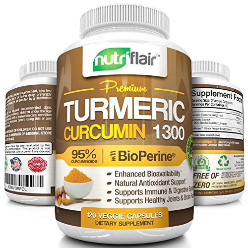 NutriFlair-Turmeric-Curcumin-1300-with-1300mg-95-Standardized-Curcuminoids-and-BioPerine-120-Capsules