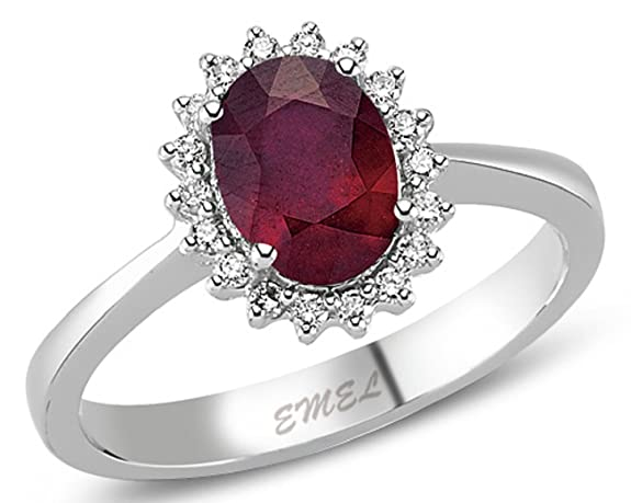 2.00 Carats 18k Solid White Gold Ruby and Diamond Engagement Wedding Bridal Promise Ring Band