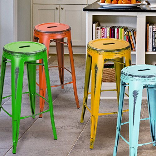 Adeco 30-inch Metal Stools, Vintage Barstool, Antique Light Blue, set of 2 6