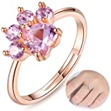 Pet Cat Rings Dog Paw Rings For Teens Girls Women Cute Rose Gold Simple Adjustable Heart-shaped Pink Zircon Lovely Promise Copper Rings For Arthritis Women Girlfriends Her Ladies Bridal (Pink-Rings) (Color: Pink-Rings)