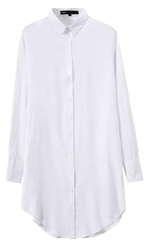 (アールポート) R-port レディース クール ロング シャツ ワンピース / ホワイト FREE : 服&ファッション小物通販 | Amazon.co.jp