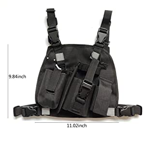 Lewong Universal Hands Free Chest Harness Bag Holster for Two Way Radio (Rescue Essentials) (Black with 3 Bag) (Color: black with 3 bag)