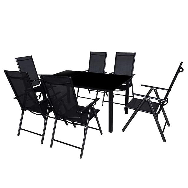 vidaXL Set 7 pz Tavolo e Sedie da Esterno Arredo da Giardino in Alluminio Nero