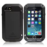 Apple iphone 7 Plus case,Feitenn Water Resistant Armor Tank Aluminum Metal Bumper Gorilla Glass Soft Rubber Military Heavy Duty Shockproof Hard Case F