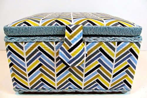 St.Jane Sewing Basket, Different Colored Stripes Pattern,plastic Compartment Shelf,handle,9.2