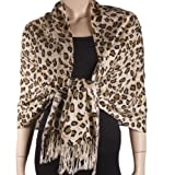 Leopard Acrylic Gold, Brown, Cream and Black Tones Shaw / Scarf with Tassels