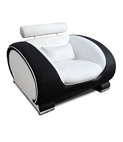 SAM® Design Couch, Sofa, Wohnzimmer Lounge Sessel Vigo, 108 cm Sitzfläche, in weiß schwarz mit bequemen Armlehnen, mit Samolux®-Bezug, mit edlen chromfarbenen Fußen