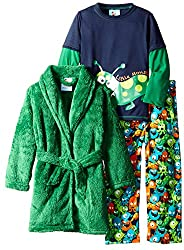 Bunz Kids Little Boys' 3 Piece Boys Monster Robe and Pajamas Sets, Multi, 7