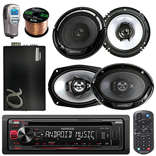 """Kenwood Car In Dash CD MP3 AM/FM AUX USB Radio Stereo Receiver & Remote 2 X 6.5"""" Inch Car Speakers 2 X 6x9"""" 6 by 9 Inch Kenwood Car Speakers + 50Ft Speaker Wire + Bluetooth Remote (With Amplifier)"""