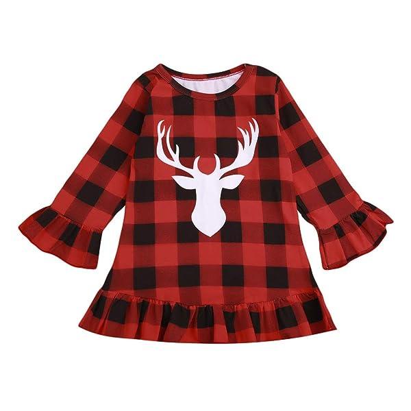 Kids Little Boys Girls Long Sleeve Button Down Red Plaid Flannel Shirt Dress with Belt