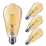 Dimmable Led Bulb, 6w LED Edison Bulb, 60w Equivalent, 6W Vintage LED Filament Light Bulb, St64 Led Bulb,2400-2700K (Amber Glow),e26 Medium Screw Base, Amber Glass Cover, 4 Pack (Color: amber)
