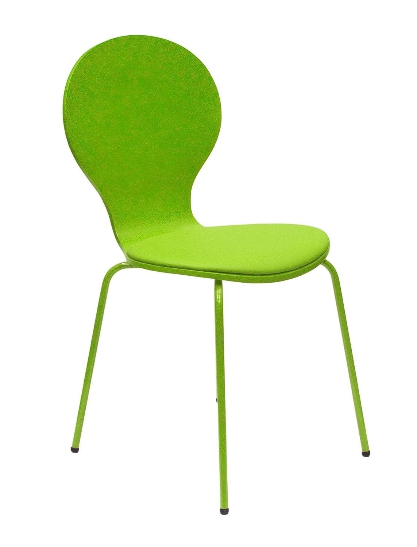 Tenzo 610-021 FLOWER 4-er Set Designer Stühle, Schichtholz lackiert, matt, Sitzkissen in Lederoptik, Untergestell Metall, lackiert, 87 x 46 x 57 cm, grün günstig online kaufen