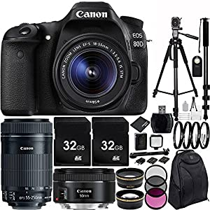 Canon EOS 80D DSLR Camera Triple Lens Bundle with 18-55mm f/3.5-5.6 IS STM Lens, EF-S 55-250mm f/4-5.6 IS STM Lens, & EF 50mm f/1.8 STM Lens, Deluxe Backpack and Accessory Kit (33 Items)