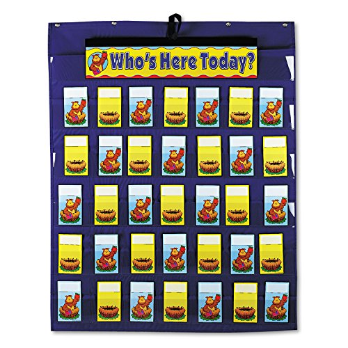 Carson-Dellosa Publishing Attendance/Multiuse Pocket Chart, 35 Pockets/Two-Sided Cards, Blue, 30 x 37 1/2 (35 Pocket Chart compare prices)