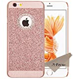 A-Focus iPhone 6S ケース・カバー ラインストーン付き ブリンブリン キラキラ ピカピカ グリッター 眩しい ダイヤモンド付き キラメク 輝き Rose Gold PC プラスチック ハード 保護カバー・ケース 耐久性が高い 弧状設計 欧米で大人気 アイフォン6 アイフォン6S 用 ( ローズ ゴールド )