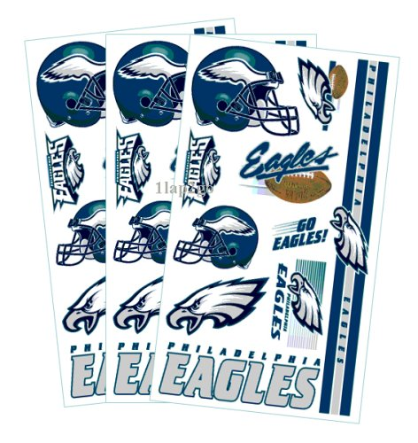 Philadelphia Eagles Temporary Body Tattoos 3 Pack at Amazon.com