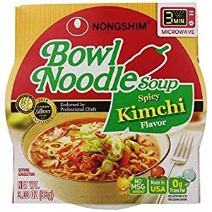 Nongshim Spicy Kimchi Noodle Soup Bowl 3.03 Ounce (Pack of 12) New from Home Comforts