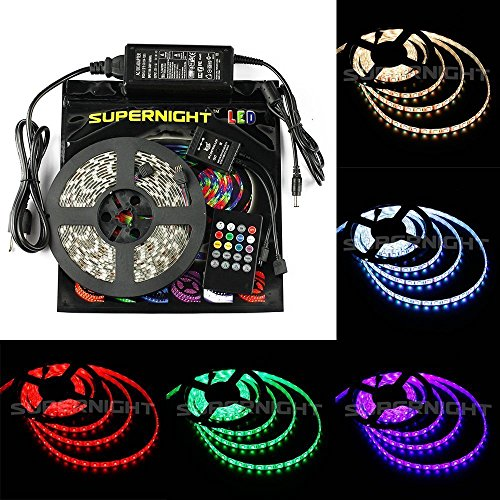 Binzet 16.4Ft 5050 300Leds Non-Waterproof Rgb Music Led Strip Light Kit 5M Led Light Tape + 20Keys Ir Music Controller Sound Activated Controller(White Version) + Dc 12V 5A Power Adapter