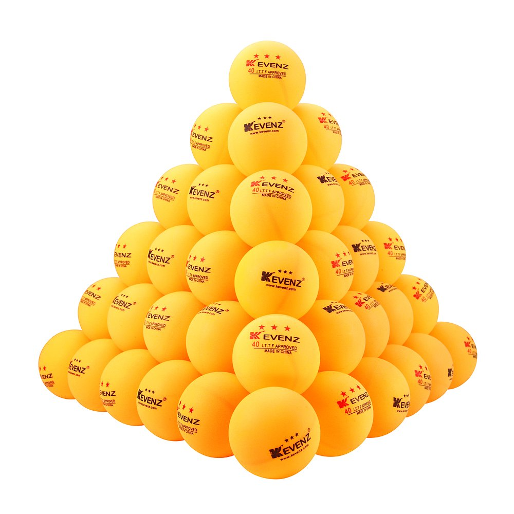 100 Counts Kevenz 3-star Practice Table Tennis Ball Advanced Training Ping Pong Balls