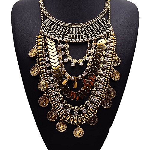 Girl Era Luxury Coin Shape Chain Multilayer Tassel Costume Accessories Bib Temperament Necklace Ladys Womens(gold)