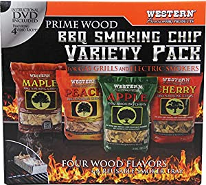 Western Premium BBQ Products BBQ Smoking Chips, Variety Pack (4 pack) from WESTERN.