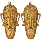 Home Decoration Indian Art Brass Wall Hanging Set Of Trible Mask 7.25x4