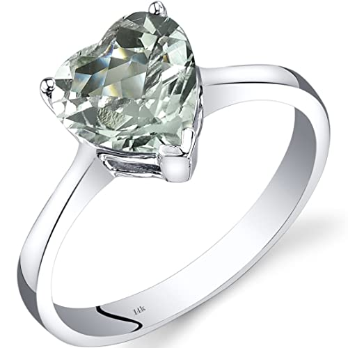 Revoni 14ct White Gold Green Amethyst Heart Solitaire Ring 1.50 Carat