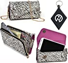 Zebra Safari |Urban|Carrying case / Wallet phone cover Fits Motorola DROID 2 Global + NuVur ™ Keychain (ESMLUSZ1)