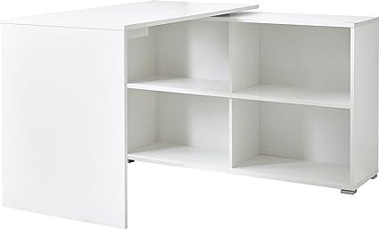 Bureau coloris Blanc/Chêne Sonoma repro - Dim : 120 x 76 x 120 cm - PEGANE -