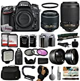 Nikon D7100 DSLR Digital Camera with 18-55mm VR II + 55-200mm VR Lens + 128GB Memory + 2 Batteries + Charger + LED Video Light + Backpack + Case + Filters + Auxiliary Lenses + $50 Gift Card + More!