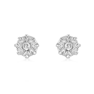 Carissima Gold 9ct White Gold Single Set Diamond Star Stud Earrings