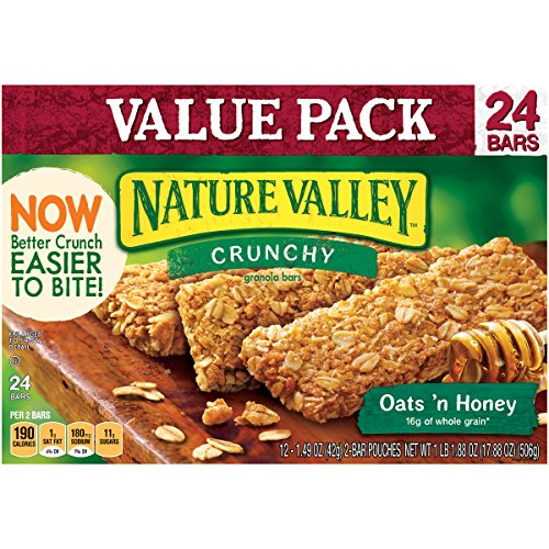 Nature Valley Granola Bars, Crunchy, Oats and Honey, 12 Pouches - 1.5 oz, 2-Bars Per Pouch (Pack of 6) (Nature Valley Oats And Honey compare prices)