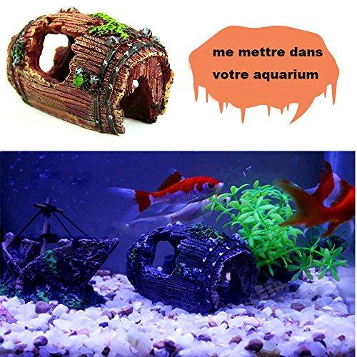 Yakamoz Résine Aquarium Baril Fond Cassé Barrel Pour Fish Tank
