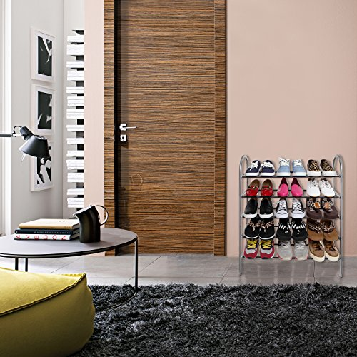 5 tier freestanding vertical metal shoe rack for entryway. Black Bedroom Furniture Sets. Home Design Ideas