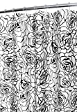Park B. Smith Cabbage Rose Watershed Shower Curtain, White/Black