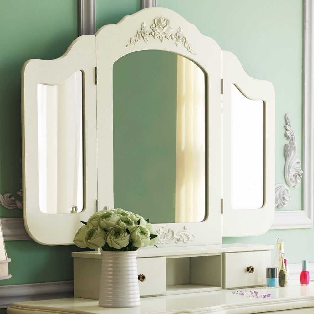 Tribesigns French Vintage Ivory White Vanity Dressing Table Set Makeup Desk with Stool & Mirror Bedroom 2