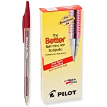 Pilot The Better Ballpoint Stick Pens, Fine Point, Red Ink, Dozen Box (37011)