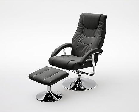 Fernsehsessel, Relaxsessel, TV-Sessel schwarz, drehbar, Chrom, mit Hocker