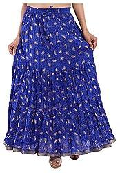 Magnus Women's Long Skirt (SKT454, Blue, M)