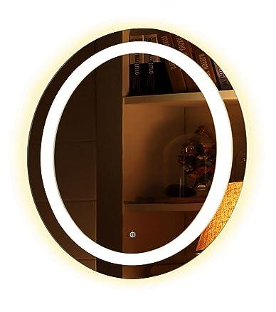 Specchio bagno rotondo illuminante LED Anti Snowpark Racha 50cm 60cm 70cm 80cm colore calda e fredda, Chaude, 60_cm
