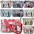 Floral Polka Dots Ladies Oilcloth Satchel Messenger Shoulder Hand School Bag (Butterfly Beige)