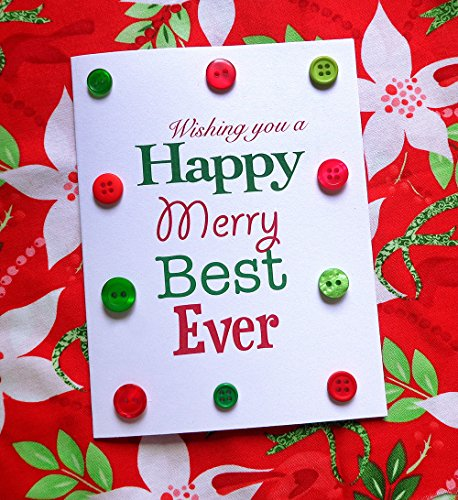 Button Bright Christmas Cards, Pack of 4