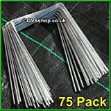 QVS Shop 75 X Metal/Steel Ground Staple Pegs/Pins For Weed Control Fabric Mulch Mat Cover