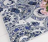 民族柄 綿 麻 布 生地 手芸 衣類用 幅145cm 長さ200cm カラー 中華風 コットンリネン ハンドメイド (青花・陶磁器風)