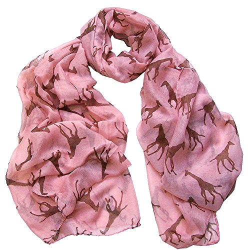 Eubuy Fashion Giraffe Print Long Soft Winter Warmer Scarf Shawl Animal Wrap (Pink)
