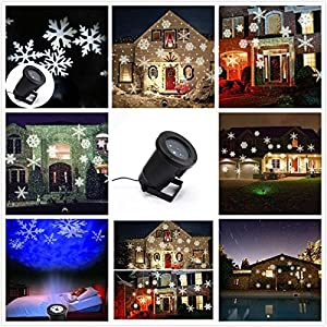 ParaCity Landscape Projector Light Green&Red Star IP65 Waterproof Flood Lighting Outdoor Decking Light with Remote Control Timer for Garden Yard Lawn Christmas Holiday Wedding Disco(UK Plug) from Paramount City