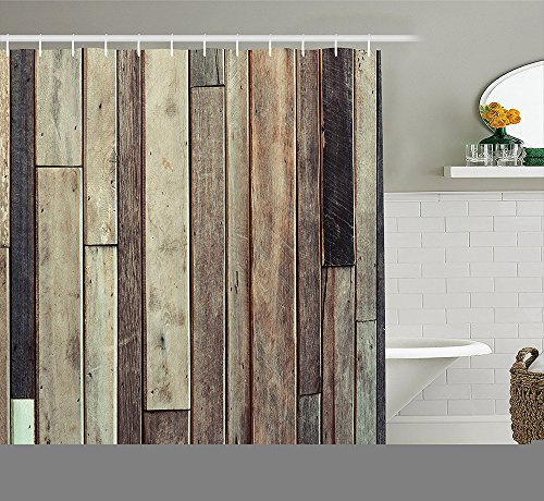 Wooden Shower Curtain Set by Antique Old Planks Flooring Wall Picture American Style Western Rustic Panel Graphic Print Fabric Bathroom Decor with Hooks Brown (Freestanding Art Panels compare prices)