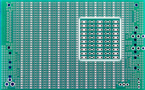 BB3UC BusBoard-3U-CONN, Zig-zag Busses, Connector Footprints, 1 Sided PCB, Soldermask, 3.94 x 6.30 in (100 x 160 mm)